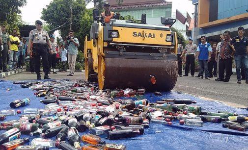 Polresta Palembang Musnahkan 951,25 Sabu, 454 Botol Miras, 26 Dirijen Tuak Serta 1.329 Petasan