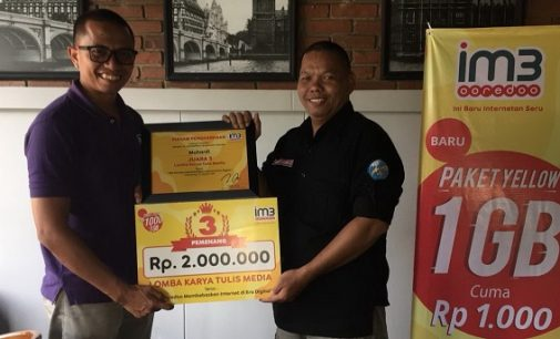 Wartawan Vivasumsel.Com, Muhardi Raih Juara Ketiga Lomba Karya Tulis Indosat Ooredoo