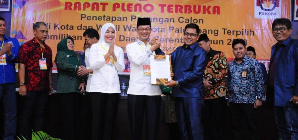 KPU Palembang Tetapkan Harfit Sebagai Wako Dan Wawako Terpilih