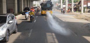 Sejumlah Jalan Protokol Kembali Disemprot Disinfektan