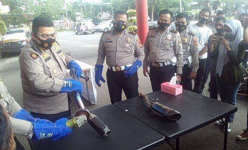 Satlantas Polrestabes Palembang Musnahkan Ratusan Knalpot Racing